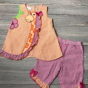 Bonnie Baby Seersucker Giraffe Outfit